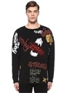 Siyah Karışık Yazı Baskılı Sweatshirt