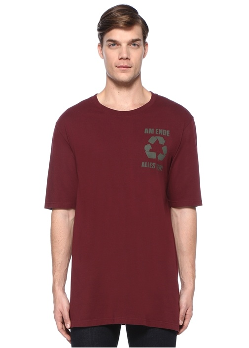 Bordo Baskılı Basic T-shirt