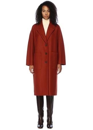 Harris Wharf London Kadın Kiremit Kelebek Yaka Oversize Yün Kaban Kırmızı 44 I (IALY)