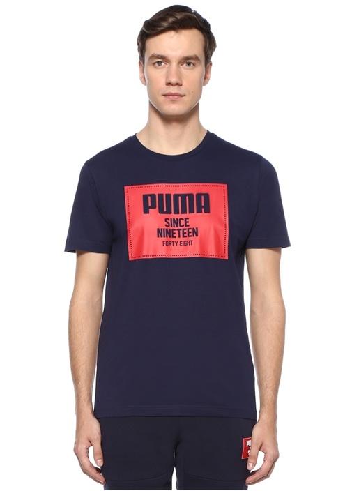 Lacivert Kırmızı Logo Baskılı Basic T-shirt