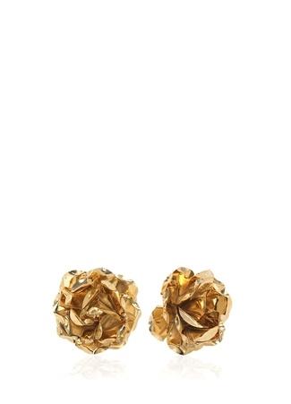 Kadın Gold Çiçek Formlu Küpe Altın Rengi EU