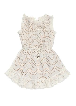 Kız Çocuk Beyaz Güpürlü Fırfırlı Elbise Bej 4 Yaş EU