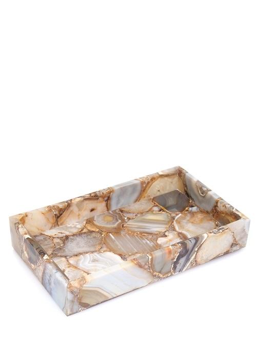 Taj Semi Mermer Desenli Değerli Taş Tepsi