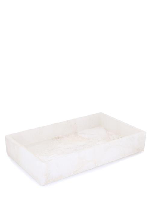 Taj Semi Beyaz Mermer Desenli Değerli Taş Tepsi