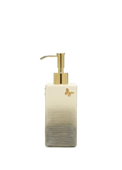Breeze Bej Gold Kelebek İşlemeli Sıvı Sabunluk
