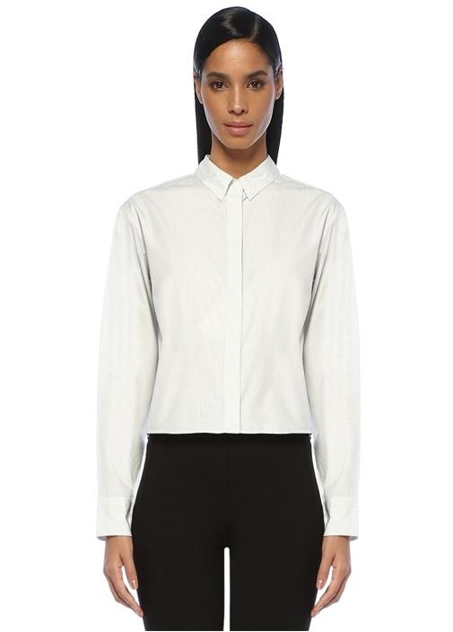 Calder Siyah Beyaz Sırt Detaylı ÇizgiliGömlek