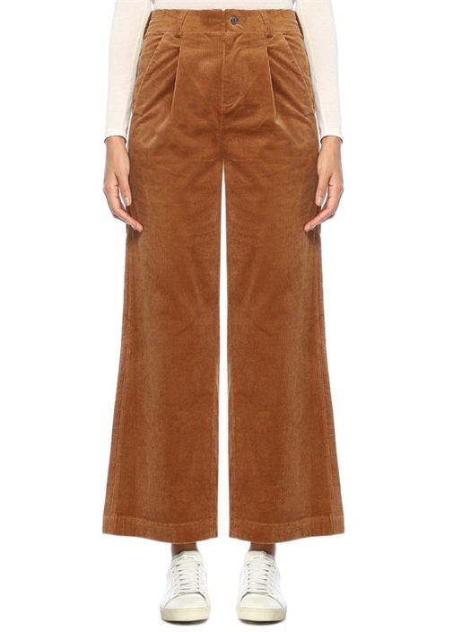 Kahverengi Yüksek Bel Bol Kesim Kadife Pantolon