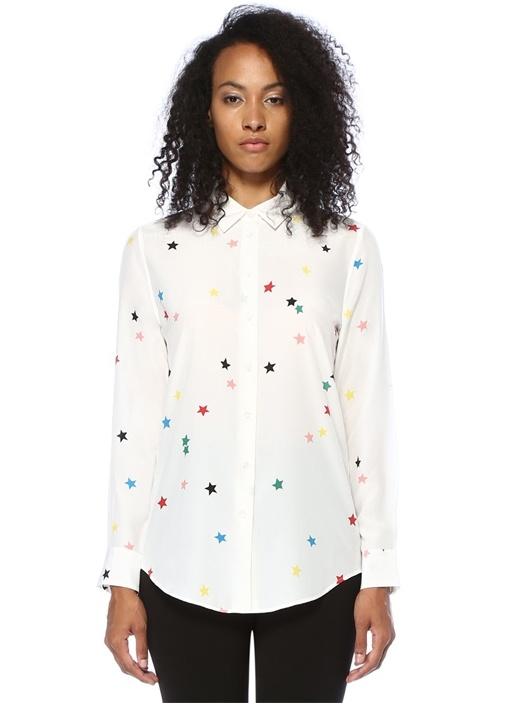 Beyaz Renkli Yıldız Baskılı İpek Gömlek