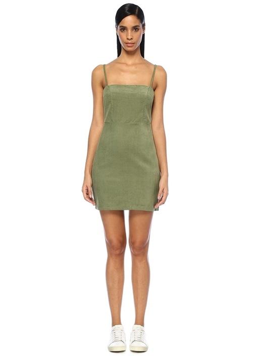 Twıın Tangent Cord Haki Askılı Mini Elbise – 254.0 TL