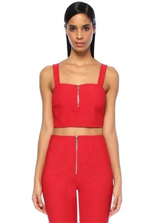 Kadın Circa Kırmızı Kare Yaka Fermuarlı Crop Bluz L EU