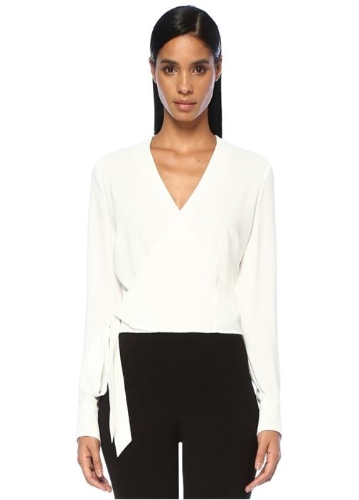 Beyaz V Yaka Beli Bağcıklı Anvelop Bluz