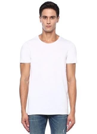Kim Beyaz Bisiklet Yaka Basic T-shirt