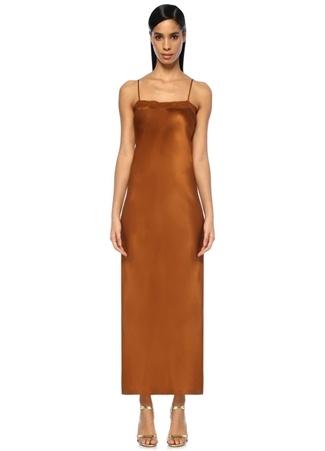 Mes Demoiselles Kadın Alicante Bronz Dantelli Kare Yaka Maxi İpek Elbise Kahverengi 36 FR