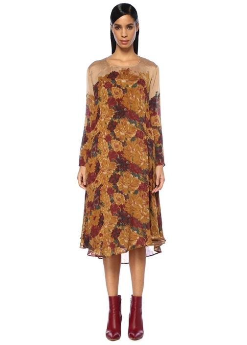 Odile Bej Çiçek Baskılı Asimetrik İpek Midi Elbise