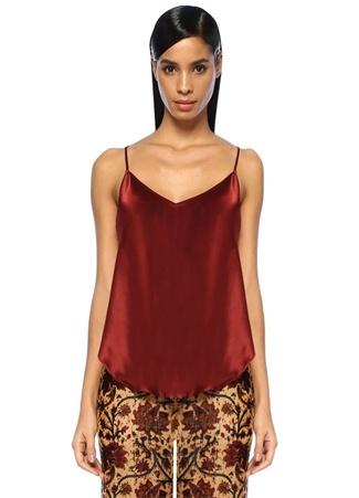 Mes Demoiselles Kadın Felicie Bordo V Yaka İp Askılı Volanlı İpek Bluz Kahverengi 34 FR