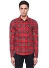 Regular Fit Kırmızı Polo Yaka Ekoseli Gömlek