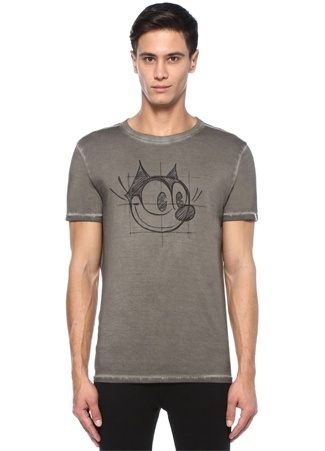 Antrasit Figür Baskılı Eskitmeli Basic T-shirt