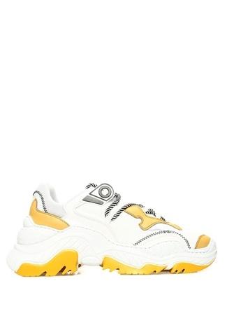 N2 Kadın Beyaz Sarı Kalın Tabanlı Sneaker 40 EU