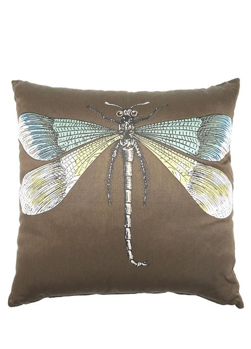 Haki Yusufçuk İşlemeli Dekoratif Yastık