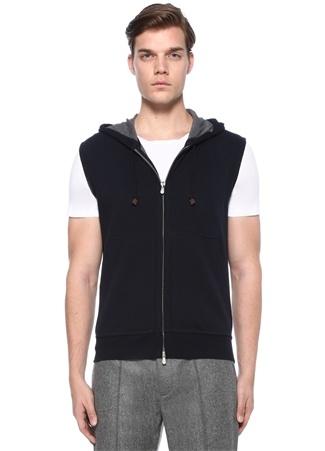 Brunello Cucinelli Erkek Lacivert Kapüşonlu Kısa Kollu Sweatshirt L Ürün Resmi