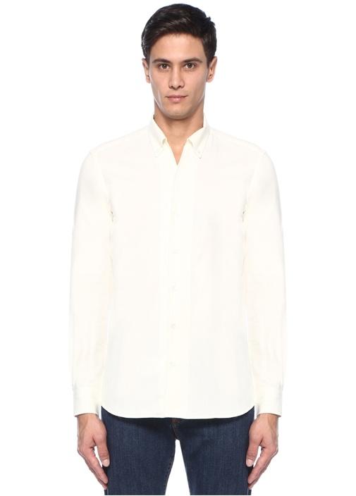 Beyaz Düğmeli Yaka Gömlek