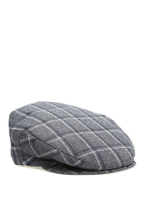 Gri Ekose Desenli Erkek Yün Şapka