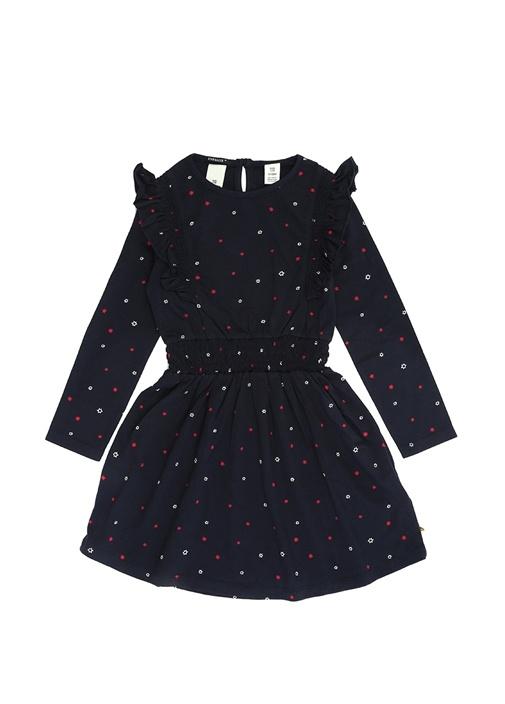 Lacivert Yıldızlı Fırfırlı Uzun Kol Çocuk Elbise