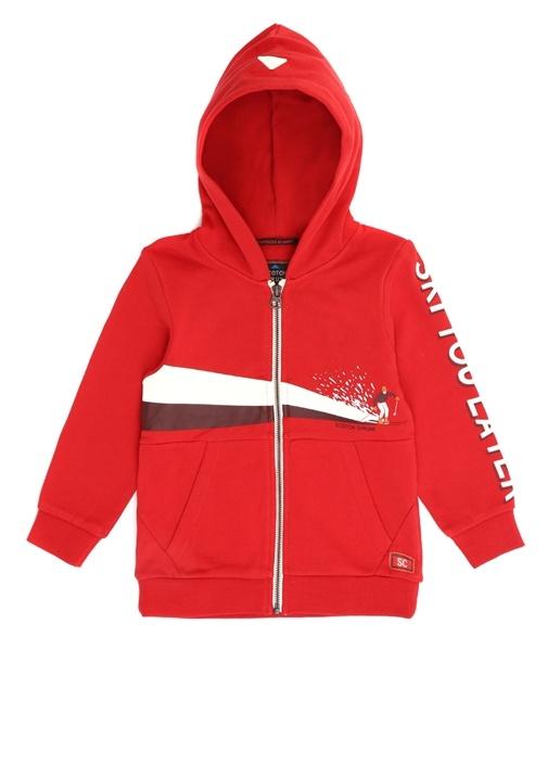 Kırmızı Kapüşonlu Fermuarlı Erkek ÇocukSweatshirt