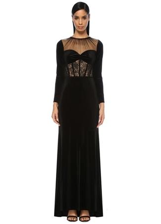 Tadashi Shoji Kadın Marcella Siyah Maksi Kadife Elbise 8 US