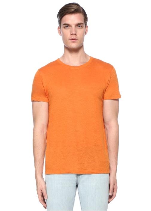 Turuncu Bisiklet Yaka Keten Basic T-shirt