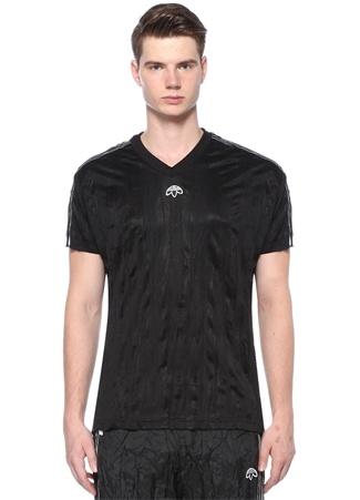 Siyah V Yaka Şeritli Logo Işlemeli T-shirt