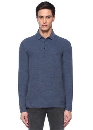 Mavi Melanj Polo Yaka Dokulu Uzun KolluT-shirt