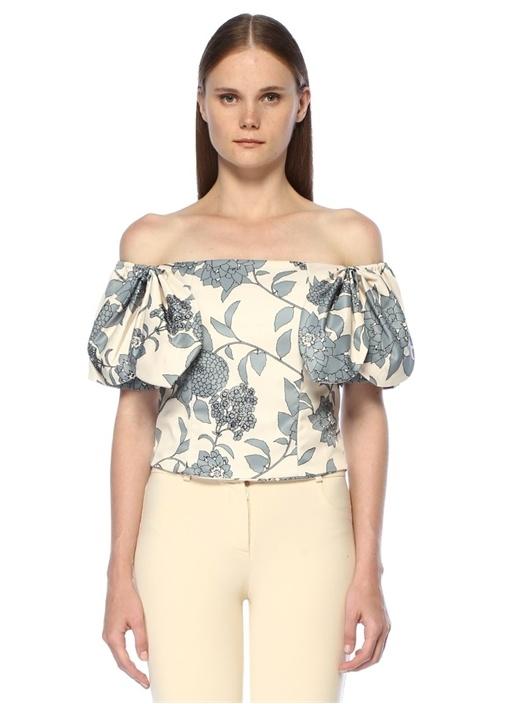 Eloisa Ekru Çiçekli Omzu Açık Fiyonklu Crop Bluz