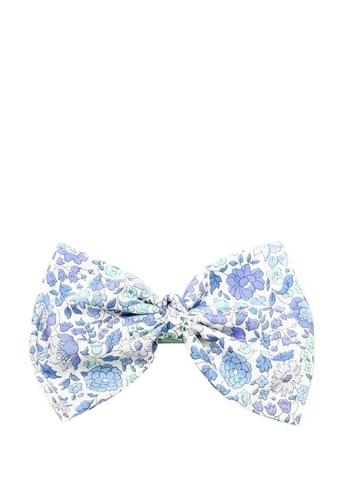 Mavi Çiçekli Fiyonklu Kız Çocuk Saç Aksesuarı