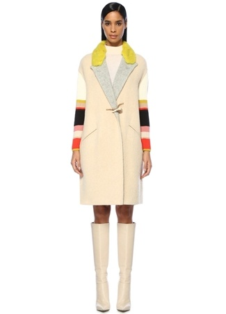 Missoni Kadın Kelebek Yaka Colourblock Kolları Çizgili Yün Palto Bej 38 I (IALY) Ürün Resmi