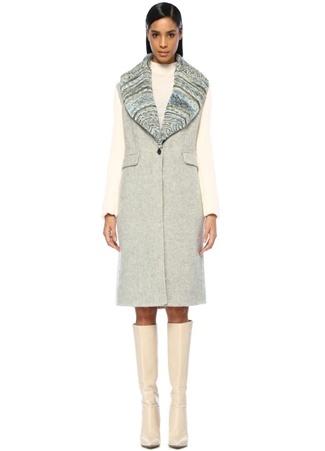 Missoni Kadın Gri Ekru Şal Yaka ek Düğmeli Yün Palto 42 I (IALY) Ürün Resmi