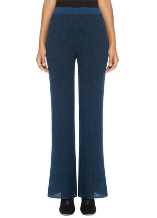 Lacivert Normal Bel Bol Paça Örgü Desenli Pantolon