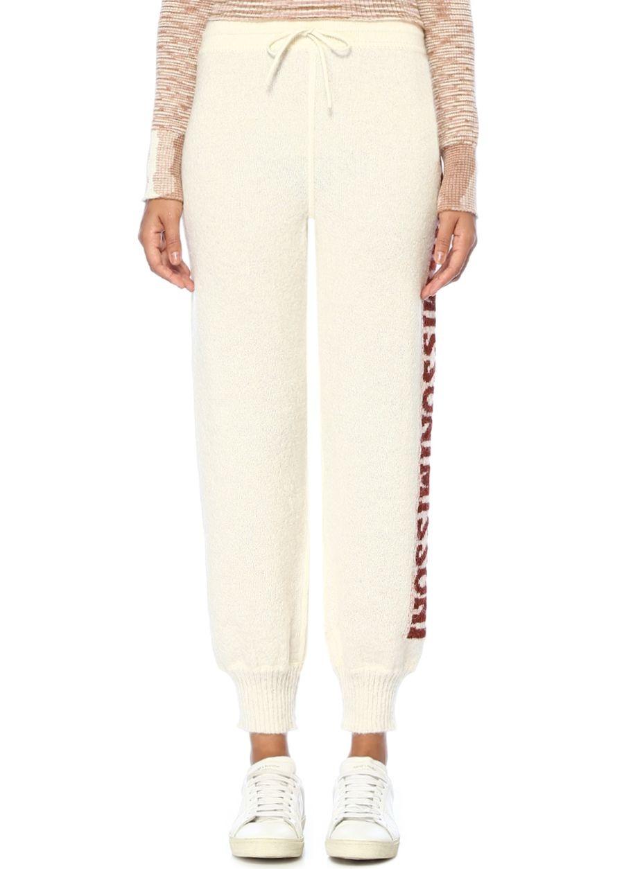 Missoni Ekru Yüksek Bel Tek Yanı Logo Şeritli Yün Pantolon