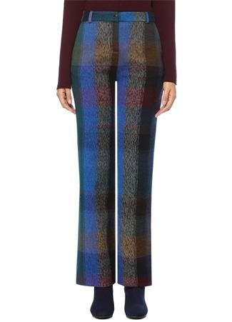 Kadın Mavi Ekoseli Yüksek Bel Boru Paça Yün Pantolon 38 IT