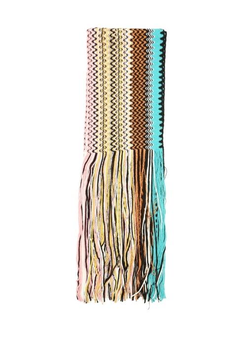 Colorblocked Zikzak Desenli Kadın Atkı