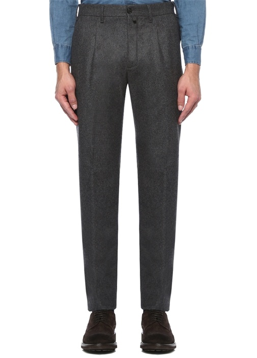 Antrasit Normal Bel Dar Paça Yün Pantolon
