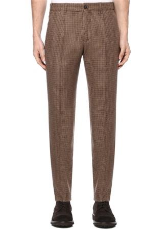Bej Normal Bel Kazayağı Desenli Pantolon