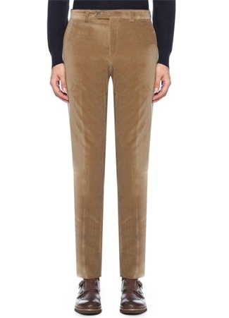 Bej Normal Bel Boru Paça Çizgi Dokulu Pantolon