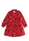 Kırmızı Yaprak Desenli Büzgülü Kız Çocuk Elbise