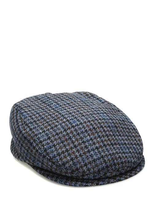Mavi Kazayağı Desenli Erkek Yün Şapka