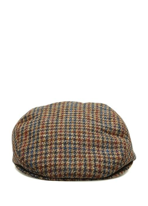 Kahverengi Kazayağı Desenli Erkek Yün Şapka