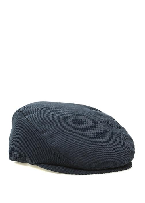 Lacivert Çizgi Dokulu Erkek Kadife Şapka