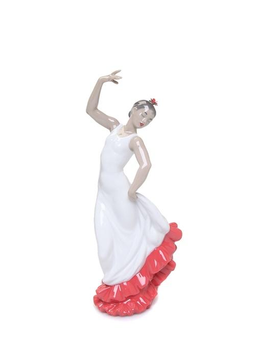 İspanyol Sanatı Beyaz Kırmızı Porselen Biblo