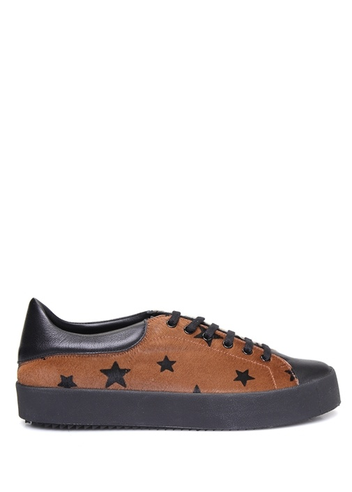 Kahverengi Siyah Yıldız Desenli Kadın Deri Sneaker