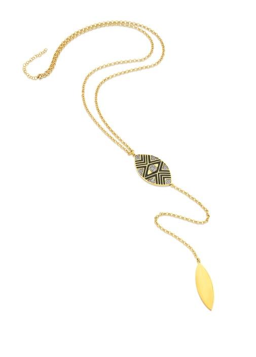 Gold Zincirli Etnik Desenli Kadın GümüşKolye